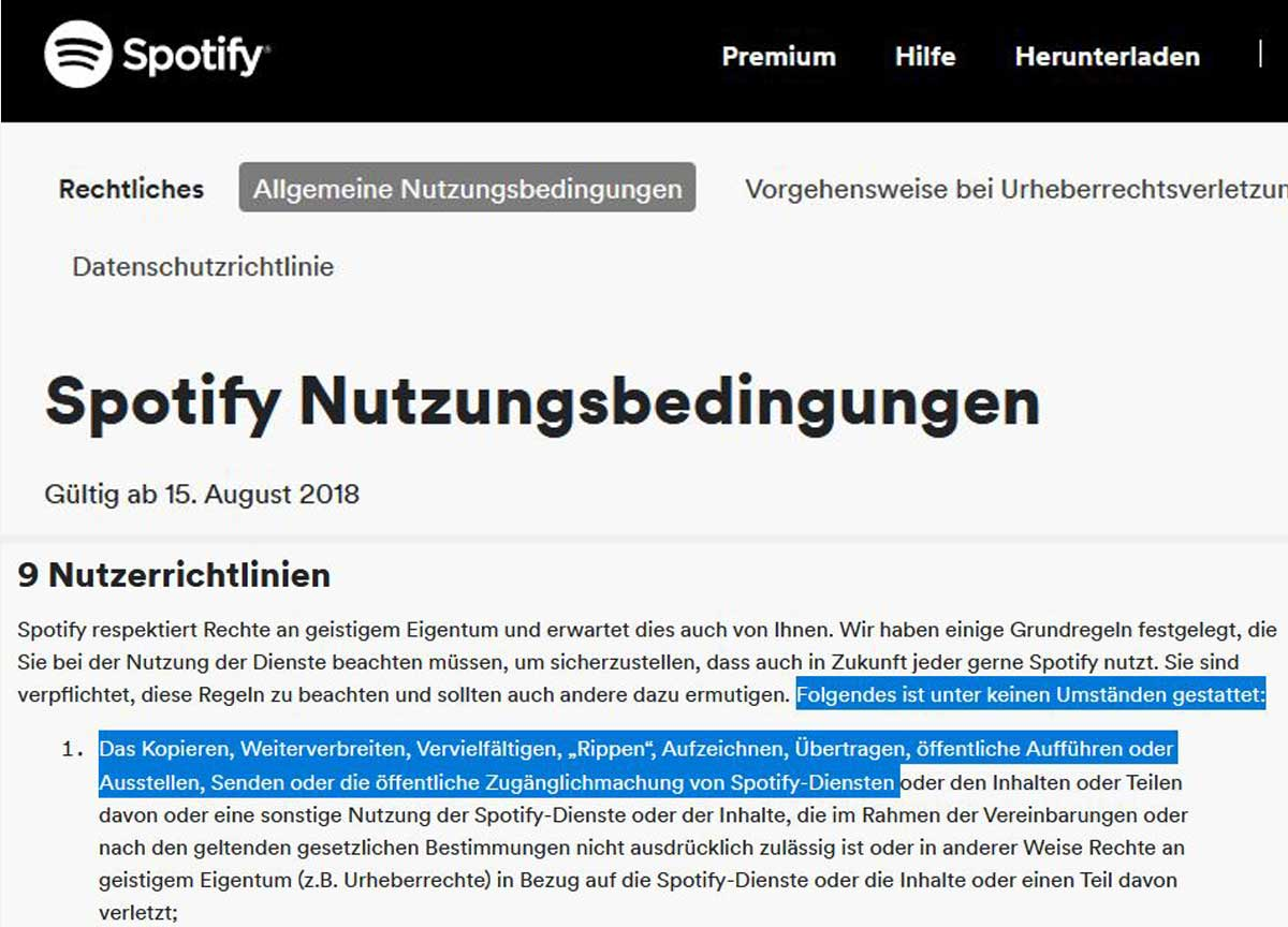Spotify Nutzungsbedingungen
